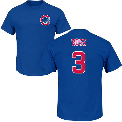 MLB Nike Chicago Cubs #3 David Ross Royal Blue Name & Number T-Shirt