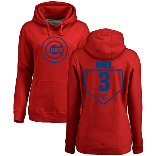MLB Women's Nike Chicago Cubs #3 David Ross Red RBI Pullover Hoodie
