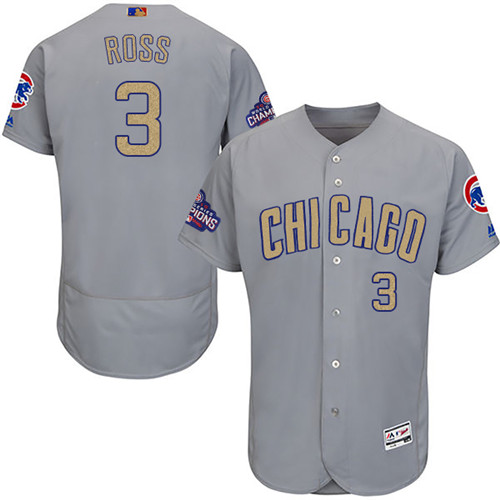 Men's Majestic Chicago Cubs #3 David Ross Gray 2017 Gold Champion Flexbase Authentic Collection MLB Jersey
