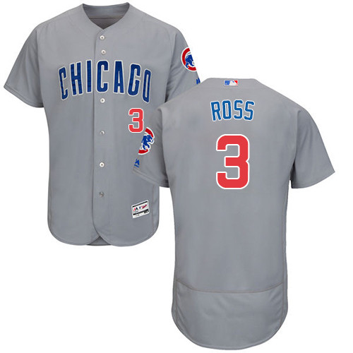 Men's Majestic Chicago Cubs #3 David Ross Grey Road Flexbase Authentic Collection MLB Jersey
