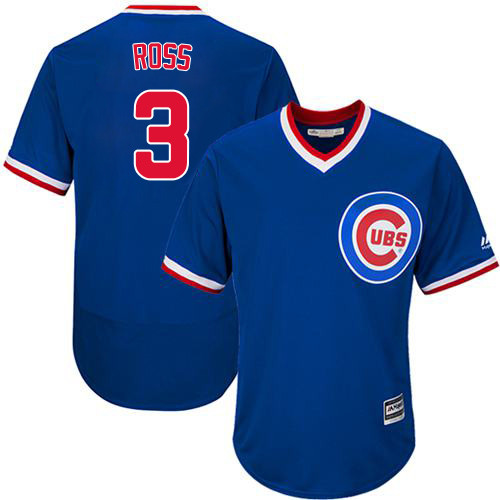 Men's Majestic Chicago Cubs #3 David Ross Royal Blue Cooperstown Flexbase Authentic Collection MLB Jersey
