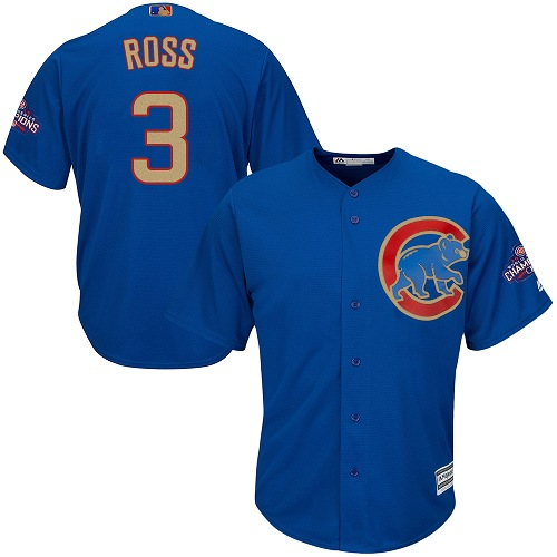 Youth Majestic Chicago Cubs #3 David Ross Authentic Royal Blue 2017 Gold Champion Cool Base MLB Jersey