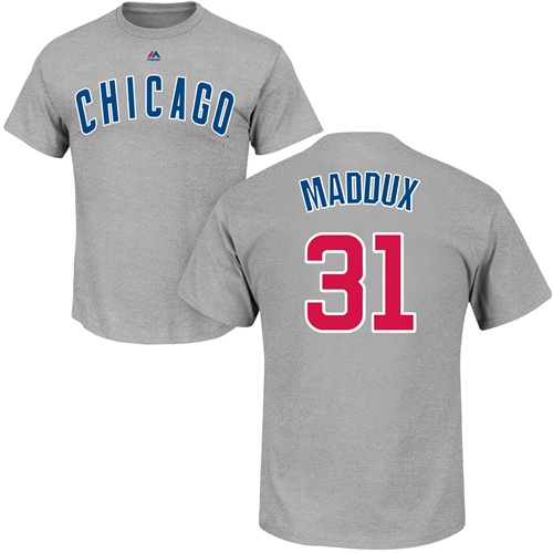 MLB Nike Chicago Cubs #31 Greg Maddux Gray Name & Number T-Shirt