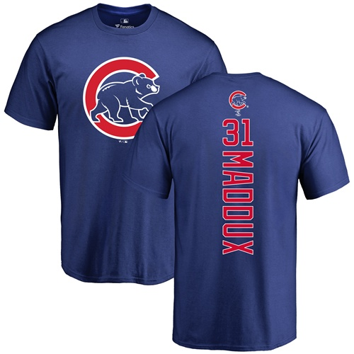 MLB Nike Chicago Cubs #31 Greg Maddux Royal Blue Backer T-Shirt