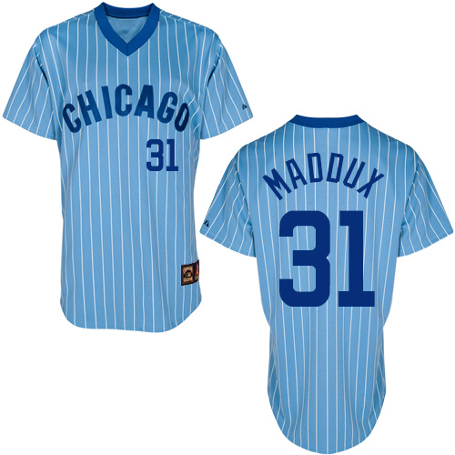 Men's Majestic Chicago Cubs #31 Greg Maddux Authentic Blue/White Strip Cooperstown Throwback MLB Jersey