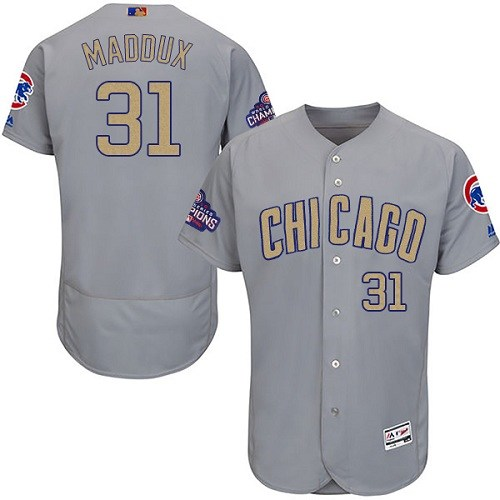 Men's Majestic Chicago Cubs #31 Greg Maddux Authentic Gray 2017 Gold Champion Flex Base MLB Jersey