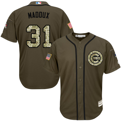 Men's Majestic Chicago Cubs #31 Greg Maddux Authentic Green Salute to Service MLB Jersey