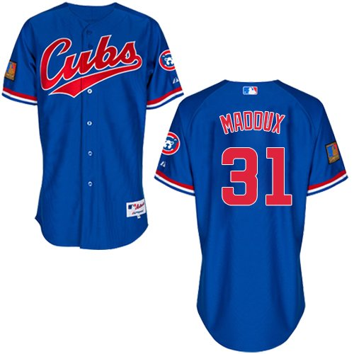 Men's Majestic Chicago Cubs #31 Greg Maddux Authentic Royal Blue 1994 Turn Back The Clock MLB Jersey
