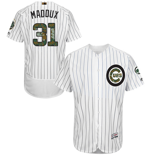 Men's Majestic Chicago Cubs #31 Greg Maddux Authentic White 2016 Memorial Day Fashion Flex Base MLB Jersey