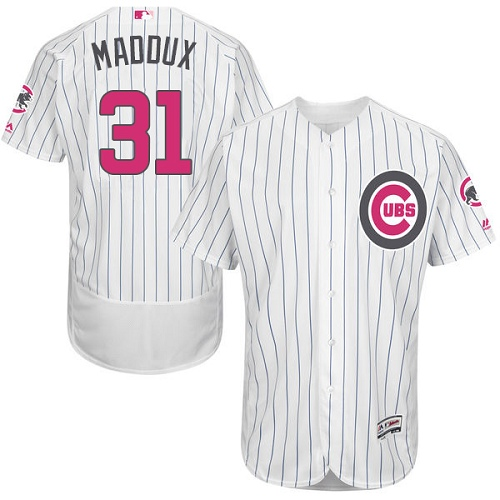 Men's Majestic Chicago Cubs #31 Greg Maddux Authentic White 2016 Mother's Day Fashion Flex Base MLB Jersey