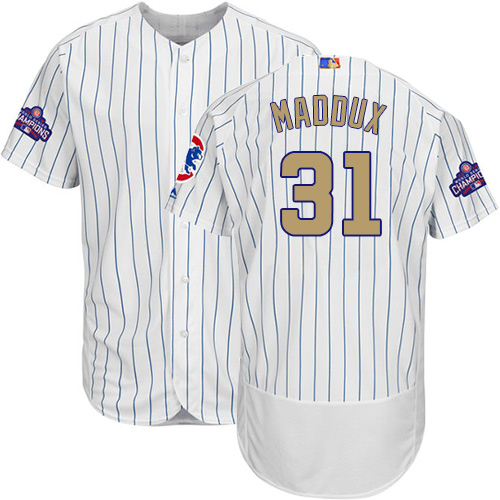 Men's Majestic Chicago Cubs #31 Greg Maddux Authentic White 2017 Gold Program Flex Base MLB Jersey