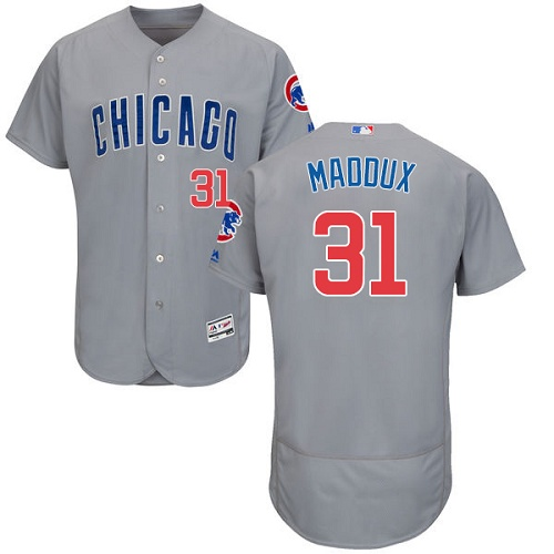 Men's Majestic Chicago Cubs #31 Greg Maddux Grey Road Flex Base Authentic Collection MLB Jersey