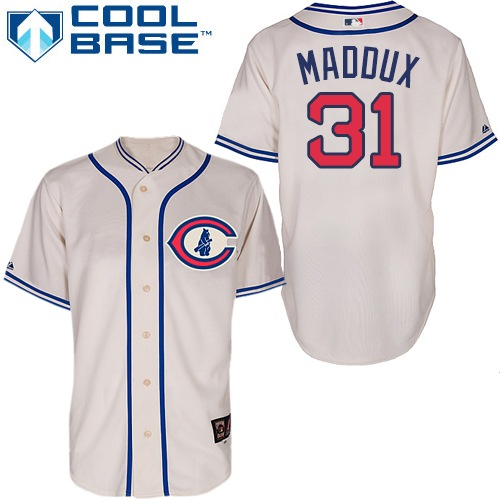 Men's Majestic Chicago Cubs #31 Greg Maddux Replica Cream 1929 Turn Back The Clock MLB Jersey