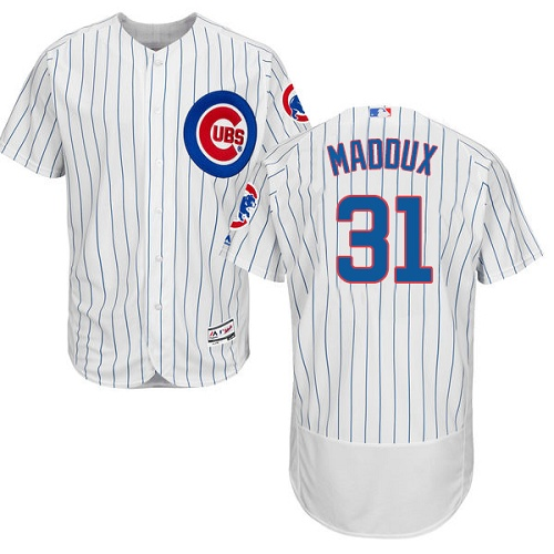 Men's Majestic Chicago Cubs #31 Greg Maddux White Home Flex Base Authentic Collection MLB Jersey