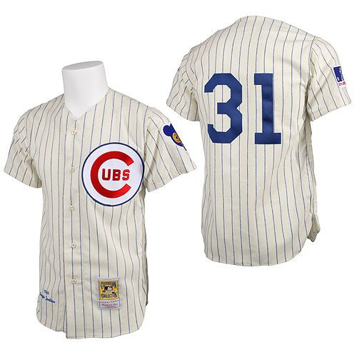 Men's Mitchell and Ness Chicago Cubs #31 Greg Maddux Replica Cream 1969 Throwback MLB Jersey
