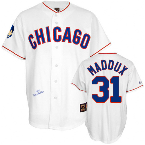 Men's Mitchell and Ness Chicago Cubs #31 Greg Maddux Replica White 1988 Throwback MLB Jersey