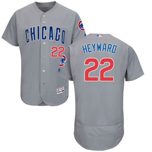 Men's Majestic Chicago Cubs #22 Jason Heyward Grey Road Flex Base Authentic Collection MLB Jersey