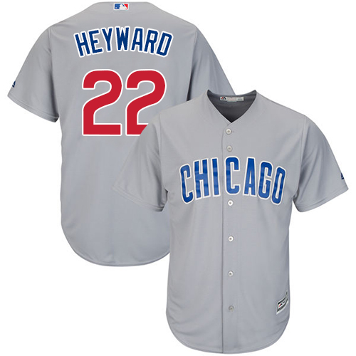 Men's Majestic Chicago Cubs #22 Jason Heyward Replica Grey Road Cool Base MLB Jersey