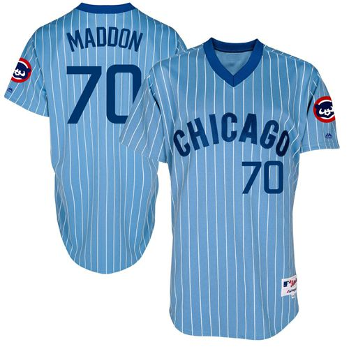 Men's Majestic Chicago Cubs #70 Joe Maddon Authentic Blue Cooperstown Throwback MLB Jersey