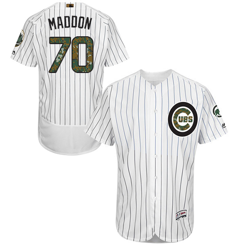 Men's Majestic Chicago Cubs #70 Joe Maddon Authentic White 2016 Memorial Day Fashion Flex Base MLB Jersey