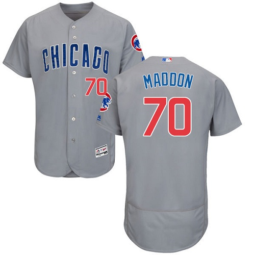 Men's Majestic Chicago Cubs #70 Joe Maddon Grey Road Flex Base Authentic Collection MLB Jersey