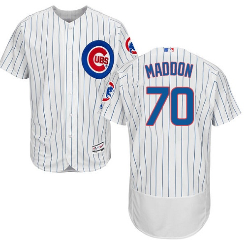 Men's Majestic Chicago Cubs #70 Joe Maddon White Home Flex Base Authentic Collection MLB Jersey