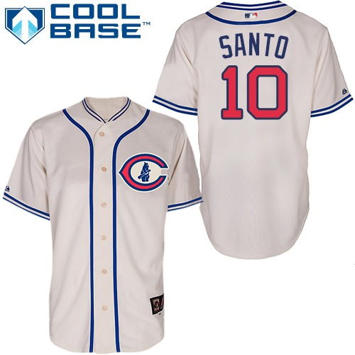 Men's Majestic Chicago Cubs #10 Ron Santo Authentic Cream 1929 Turn Back The Clock MLB Jersey