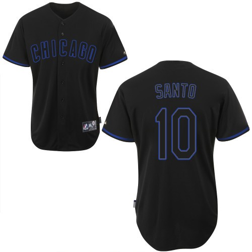 Men's Majestic Chicago Cubs #10 Ron Santo Replica Black Fashion MLB Jersey