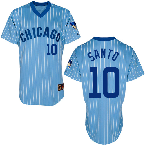 Men's Majestic Chicago Cubs #10 Ron Santo Replica Blue/White Strip Cooperstown Throwback MLB Jersey