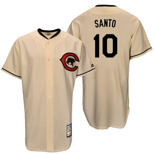 Men's Majestic Chicago Cubs #10 Ron Santo Replica Cream Cooperstown Throwback MLB Jersey