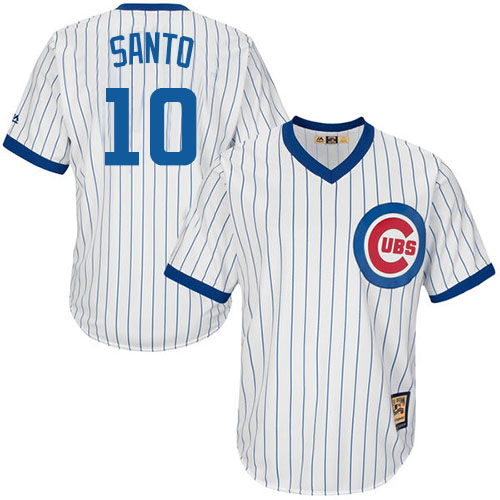 Men's Majestic Chicago Cubs #10 Ron Santo Replica White Home Cooperstown MLB Jersey