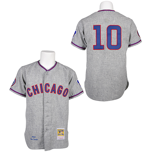Men's Mitchell and Ness 1968 Chicago Cubs #10 Ron Santo Replica Grey Throwback MLB Jersey