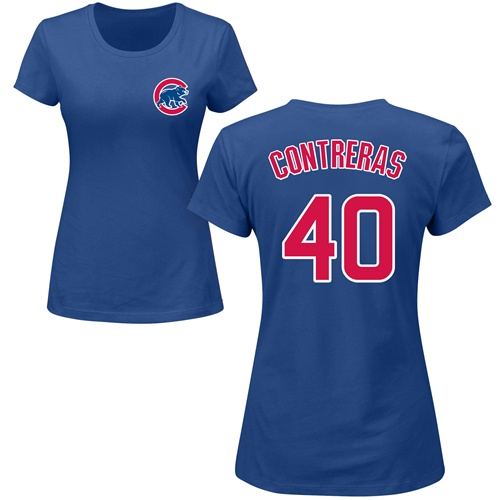 MLB Women's Nike Chicago Cubs #40 Willson Contreras Royal Blue Name & Number T-Shirt