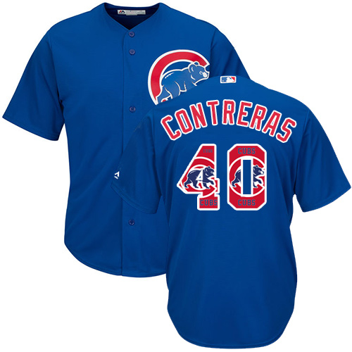 Men's Majestic Chicago Cubs #40 Willson Contreras Authentic Royal Blue Team Logo Fashion Cool Base MLB Jersey