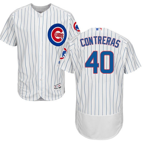 Men's Majestic Chicago Cubs #40 Willson Contreras White Home Flexbase Authentic Collection MLB Jersey
