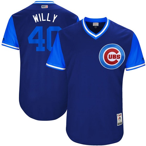 Men's Majestic Chicago Cubs #40 Willson Contreras