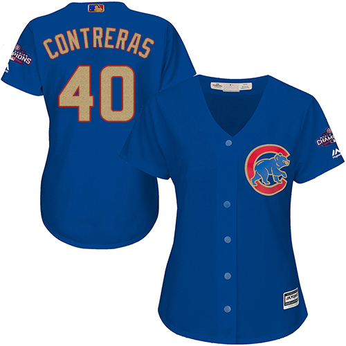 Women's Majestic Chicago Cubs #40 Willson Contreras Authentic Royal Blue 2017 Gold Champion MLB Jersey