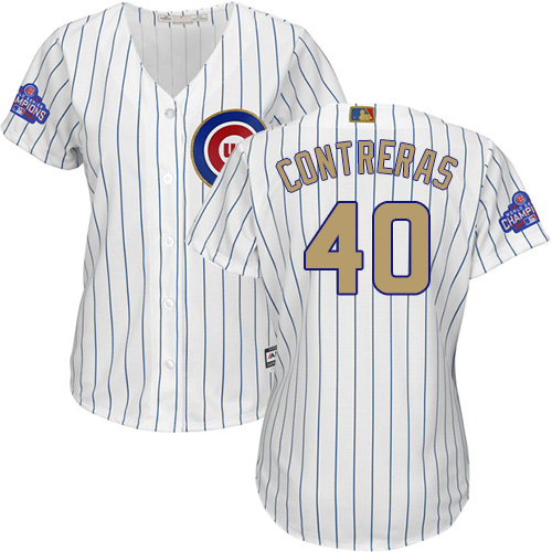 Women's Majestic Chicago Cubs #40 Willson Contreras Authentic White 2017 Gold Program MLB Jersey