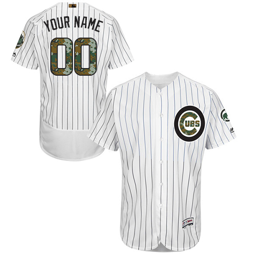 Men's Majestic Chicago Cubs Customized Authentic White 2016 Memorial Day Fashion Flex Base MLB Jersey
