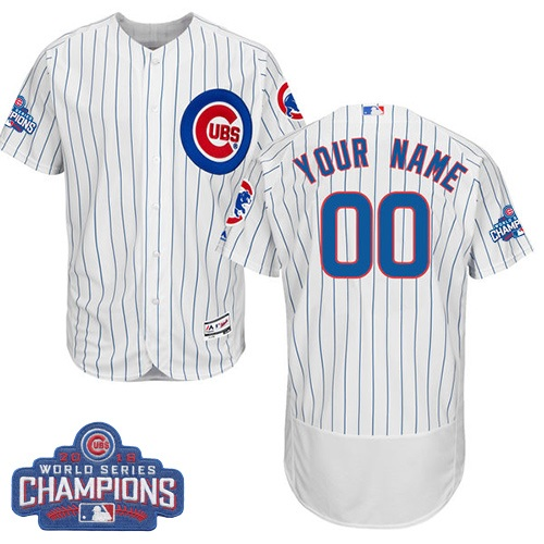 Men's Majestic Chicago Cubs Customized White 2016 World Series Champions Flexbase Authentic Collection MLB Jersey