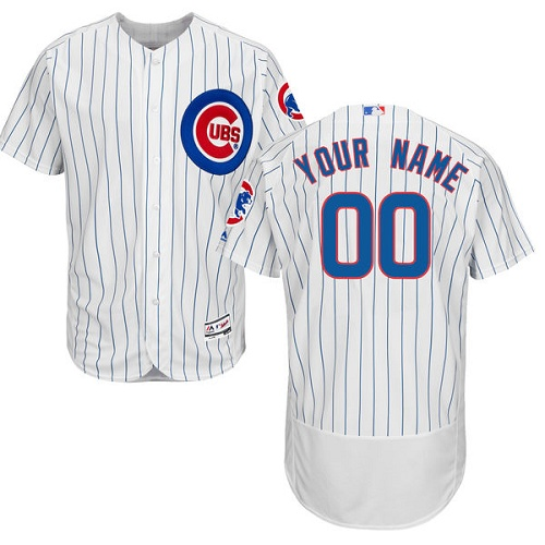 Men's Majestic Chicago Cubs Customized White Home Flex Base Authentic Collection MLB Jersey