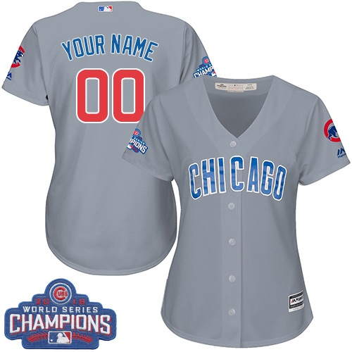 Women's Majestic Chicago Cubs Customized Authentic Grey Road 2016 World Series Champions Cool Base MLB Jersey