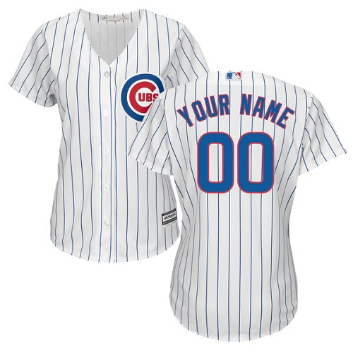 Women's Majestic Chicago Cubs Customized Authentic White Home Cool Base MLB Jersey