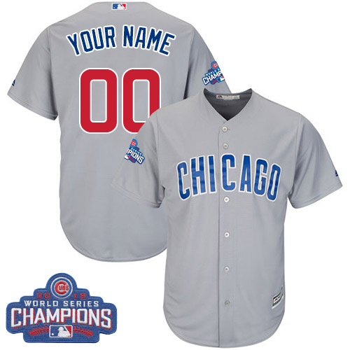 Youth Majestic Chicago Cubs Customized Authentic Grey Road 2016 World Series Champions Cool Base MLB Jersey