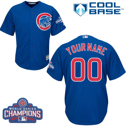 Youth Majestic Chicago Cubs Customized Authentic Royal Blue Alternate 2016 World Series Champions Cool Base MLB Jersey