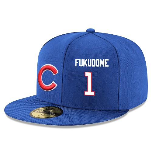 MLB Men's Chicago Cubs #1 Kosuke Fukudome Stitched Snapback Adjustable Player Hat - Royal Blue/White