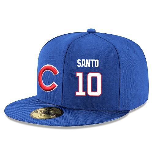 MLB Men's Chicago Cubs #10 Ron Santo Stitched Snapback Adjustable Player Hat - Royal Blue/White