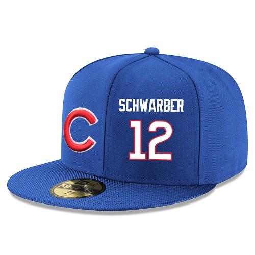 MLB Men's Chicago Cubs #12 Kyle Schwarber Stitched Snapback Adjustable Player Hat - Royal Blue/White
