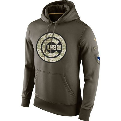 MLB Chicago Cubs Nike Olive Salute To Service KO Performance Hoodie