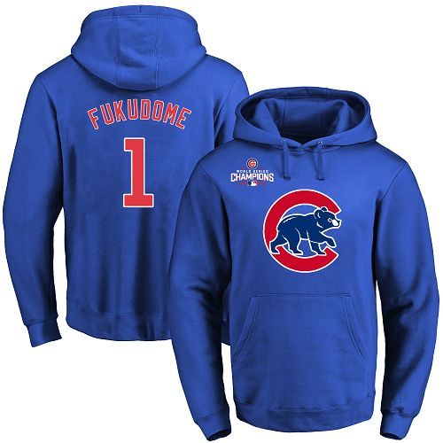 MLB Men's Chicago Cubs #1 Kosuke Fukudome Royal Team Color Primary Logo Pullover Hoodie